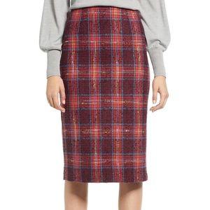 NWOT Halogen Plaid Tweed Skirt